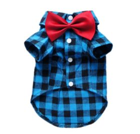 Soft Casual Dog Plaid Shirt Gentle Dog Western Shirt Dog Clothes Dog Shirt + Dog Wedding Tie - 1