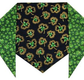 "St. Patrick's Day Dog Bandana - St. Patrick's Shamrocks (S) Ties on 9"" - 10"" neck - 1"
