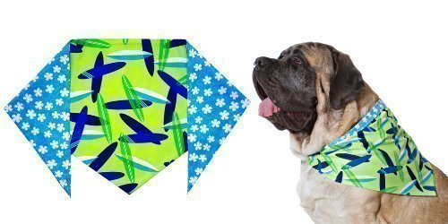 "Boys Surfboard Bandana for Dogs (S) Ties on 9"" - 10"" neck - 1"