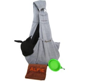 Alfie Pet by Petoga Couture - 3-Piece Dog Park Bundle: Chico 2.0 Revisible Pet Sling Carrier, Microfiber Fast-Dry Towel, Rosh Collapsible Travel Bowl - 1