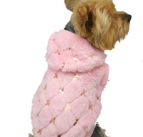 Anima Pink Fluff Sequins Hoodie for Pets