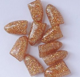 Soft Nail Caps For Dog Claws ILLUSION GOLD GLITTER X-SMALL SIZE * Purrdy Paws Brand-1