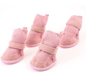 Pink Nonslip Sole Velcro Booties Pug Dog Chihuahua Shoes Boots 2 Pair M-1