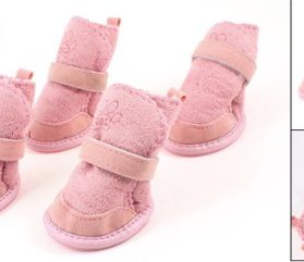 Pink Nonslip Sole Velcro Booties Pug Dog Chihuahua Shoes Boots 2 Pair M-2
