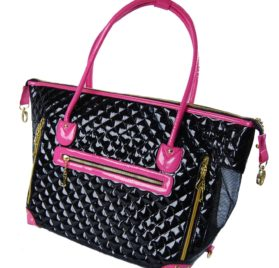 Black and Pink Quilted Faux Patent Leather Tote Purse Dog and Pet Carrier [FOR SMALL DOGS], 20-inch by 7-inch by 13-inch-1