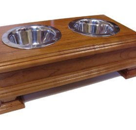 Finest Solid Wood Cherry Elevated Dog Feeder - Raised Dog Bowl Stand Or Dog Food Dish Holder - For small DOGS Yorkies Boston Terrier Chihuahua Beagles Terriers Spaniels and more-1