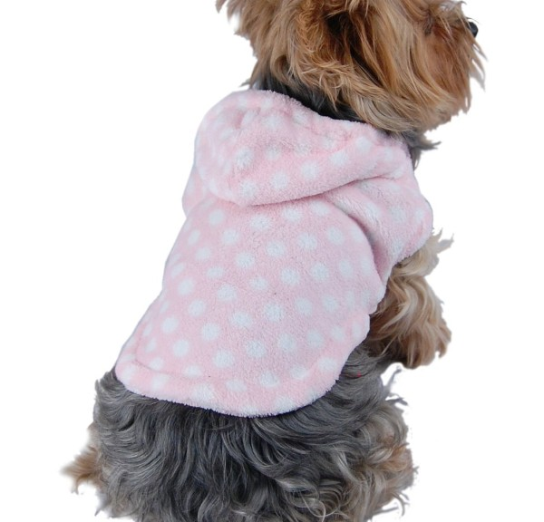 Roll over image to zoom in Anima Pink and White Polka Dot Fleece Hoodie
