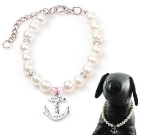 Alfie Couture Designer Pet Jewelry - Alea Pearl Necklace with Crystal Anchor for Dogs and Cats-1