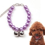 Alfie Couture Designer Pet Jewelry - Jinny Pearl Necklace with Bells for Dogs and Cats-1