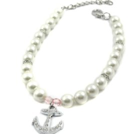 Alfie Couture Designer Pet Jewelry - Alea Pearl Necklace with Crystal Anchor for Dogs and Cats-2