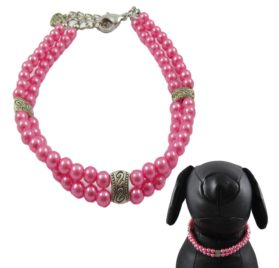 Alfie Couture Designer Pet Jewelry - Nea Double Layer Pearl Necklace for Dogs and Cats-1