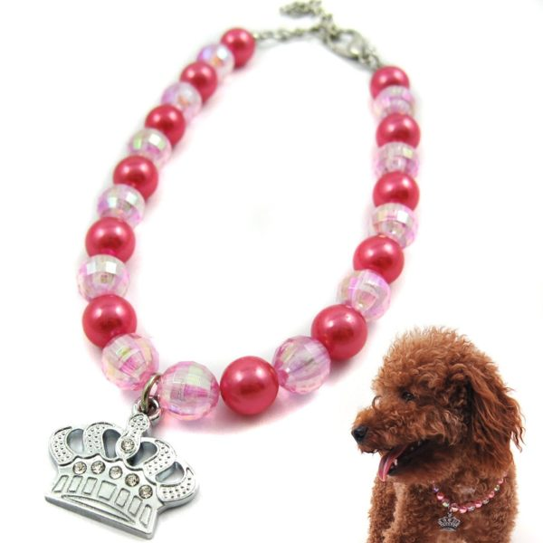 Alfie Couture Designer Pet Jewelry - Eliza Crystal Crown Pearl Necklace for Dogs and Cats-1