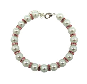 Pet and Dog White Glass Pearl Necklace with Pink Rhinestone Rings