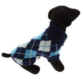 "UrbanPup Blue Argyle Sweater (Small - Dog Body Length: 10"" / 25cm) - 1"