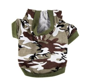 Army Green Camouflage Hoodie Pet Dog Clothes Camo Sweatshirt-S Size - 1