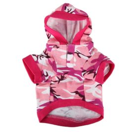 Pink Camouflage Hoodie Pet Dog Clothes Camo Sweatshirt-M Size - 1