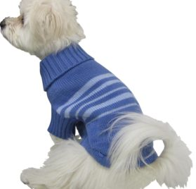 Roll over image to zoom in Dogit Style Striped Dog Sweater, Small, Blue