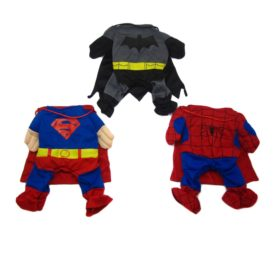 Alfie Pet by Petoga Couture - Superhero Costume 3-Piece Set: Batman, Spiderman and Superman - 3