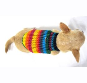 Myknitt Handmade Crochet Dog Harness Rainbow Colorful Chihuahua Clothes Pet 3