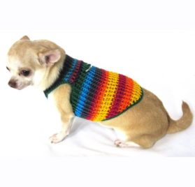 Myknitt Handmade Crochet Dog Harness Rainbow Colorful Chihuahua Clothes Pet