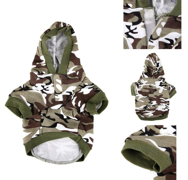 Army Green Camouflage Hoodie Pet Dog Clothes Camo Sweatshirt-XS Size - 5