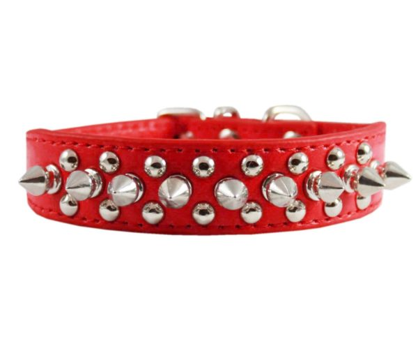 """8""""-10"""" Red Faux Leather Spiked Studded Dog Collar 7/8"""" Wide for Small/X-Small Breeds and Puppies"""