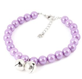Purple Faux Pearl Linked Pet Dog Chihuahua Cat Collar Necklace L