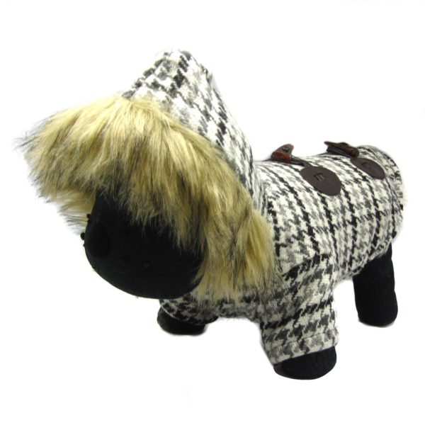Alfie Pet by Petoga Couture - Bailey Fur Hooded Coat - Color: Grey - 6