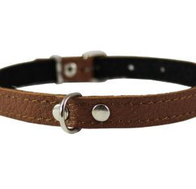 Brown Genuine Leather Felt Padded Dog Collar 2
