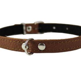 Brown Genuine Leather Felt Padded Dog Collar 2