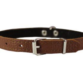 Brown Genuine Leather Felt Padded Dog Collar