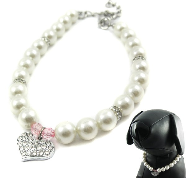Pinky Crystal Heart Pearl Necklace for Dogs and Cats
