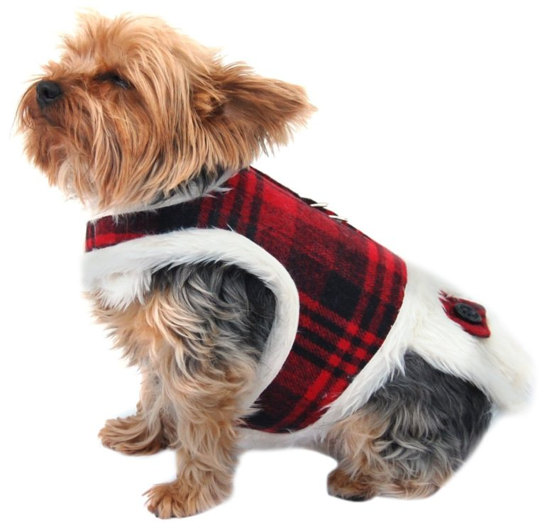 Anima Plaid Fur Lined Winter Harness Dress, Brown or Red - Large, Medium, Small, Extra Small, 2XS