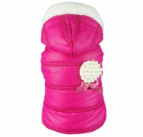 Fitwarm Pink Pet Dog Hoodies Coats Winter Jacket Apparel + Brooch-1
