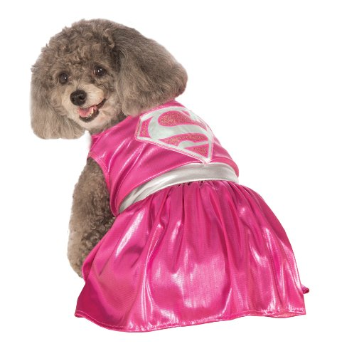 Rubies Costume DC Heroes and Villains Collection Pet Costume-Pink Supergirl-1