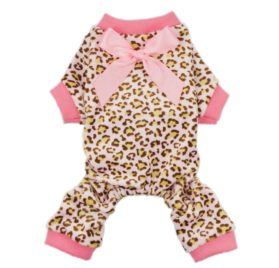 Fitwarm® Leopard Ribbon Soft Velvet Dog Pajamas for Pet Dog Clothes Comfy Pjs-1