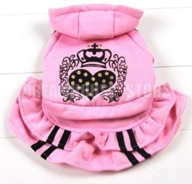 eSingyo Pet Cat Dog Pink Hooded Heart Layer eSingyo Pet Prinecess Dress Skirt Small Dog Clothes XS S M L XL-2