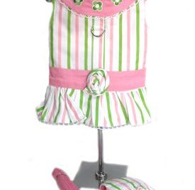 Beverly Hills Chihuahua Pink and Green Striped Harness Dress w/Leash and Visor XS-1
