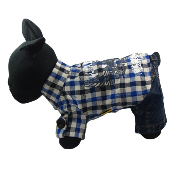 Alfie Couture Designer Pet Apparel - Hal Flannel Shirt with Jeans Bottom-1