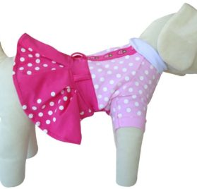 UP Collection Fuchsia Polka Dots Dog Dress, Pink, X-Small-1