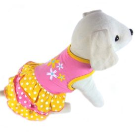 UP Collection Yellow Polka Dots with Printed Flowers Dog Dress, Pink, X-Small-1