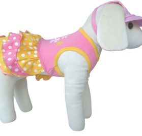 UP Collection Yellow Polka Dots with Printed Flowers Dog Dress, Pink, X-Small-2