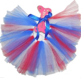 Handcrafted Red, White, Blue USA Flag Colors Mesh Tutu for Dogs