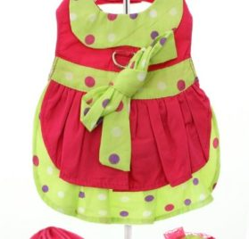 "UrbanPup Hot Pink & Polka Dot Harness Dress, Leash & Hat (Small - Dog Body Length: 10"" / 25cm)-1"