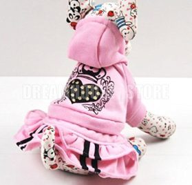 eSingyo Pet Cat Dog Pink Hooded Heart Layer eSingyo Pet Prinecess Dress Skirt Small Dog Clothes XS S M L XL-1