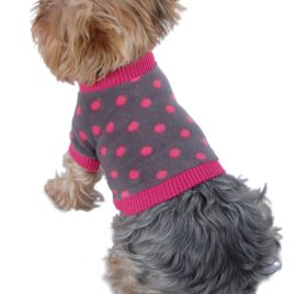Anima Grey and Pink Polka Dot Fleece Sweater with Pink Trim-1