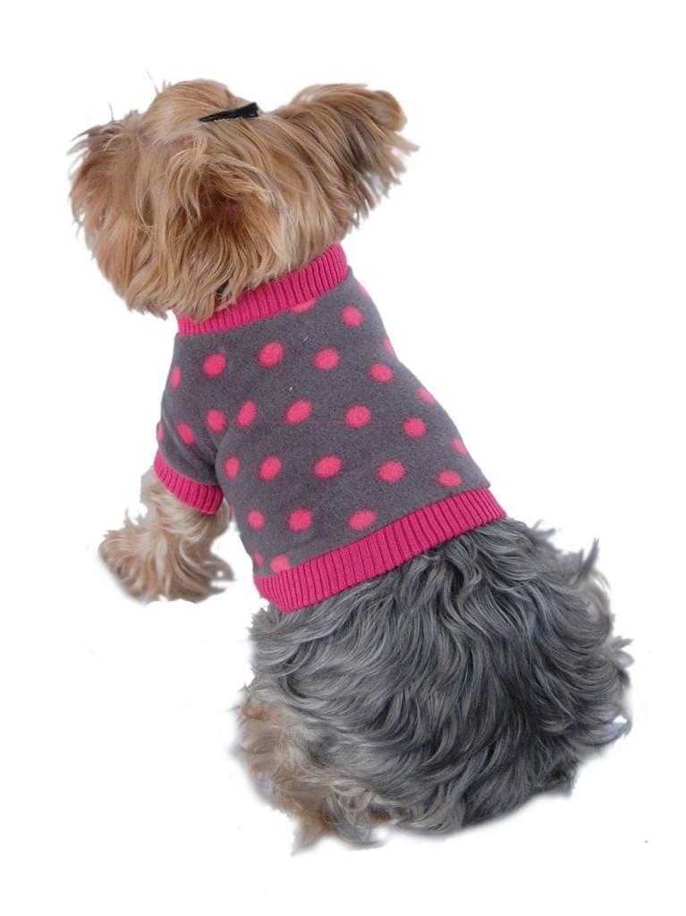 Anima Grey and Pink Polka Dot Fleece Sweater with Pink Trim-1