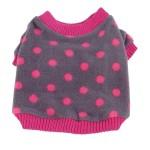 Anima Grey and Pink Polka Dot Fleece Sweater with Pink Trim-2