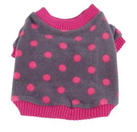 Anima Grey and Pink Polka Dot Fleece Sweater with Pink Trim-2