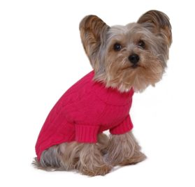 Designer Pet Clothes, Fuchsia Turtleneck Dog Sweater, Classic Aran Knit